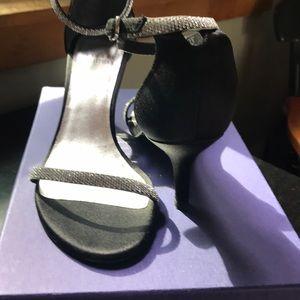 Stuart Weitzman black satin heels